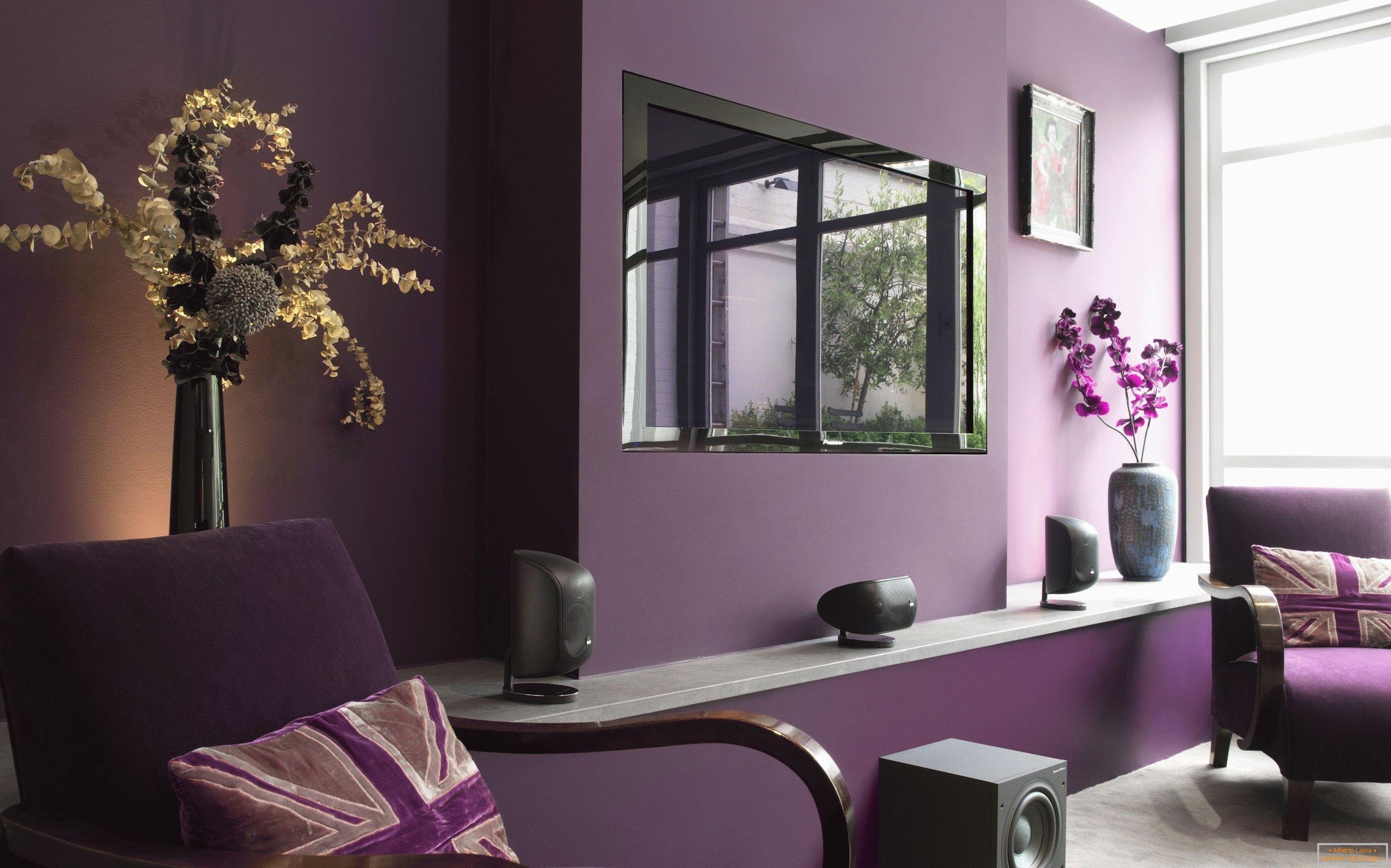 7a52dde460 Fialová farba v interiéri a jeho kombinácia